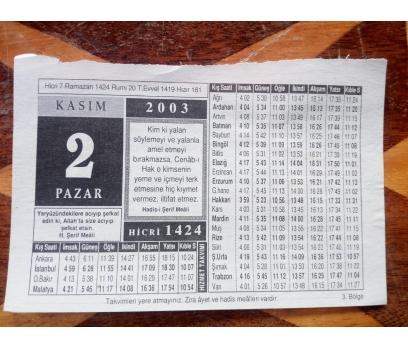 2 Kasım 2003 Pazar Takvim Yaprağı