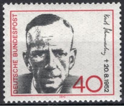 ALMANYA (BATI) 1972 DAMGASIZ KURTSCHUMACHER SERİSİ