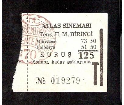 D&K--ATLAS SİNEMASI-SİNEMA BİLETİ 70 KURUŞ