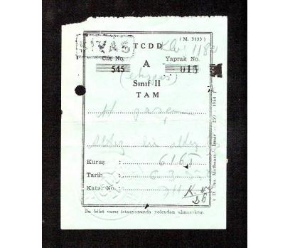 D&K-TCDD TREN BİLETİ 1956 YILI