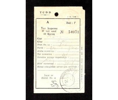 D&K-TCDD TREN BİLETİ 1962 YILI