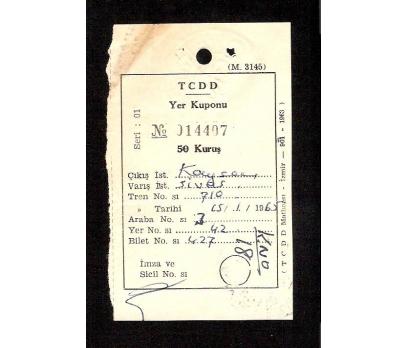 D&K-TCDD TREN BİLETİ 1965 YILI